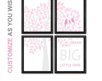 pink and gray girls room decor birds in a tree baby room art nursery quote baby girl room wall art girls gift nusery room decor bird family