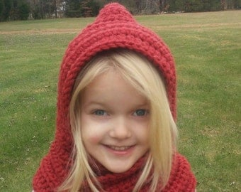Hooded Cowl Buttoned cowl Chunky Cowl Girl Child Tween