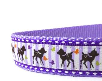 BACK to SCHOOL SALE - Purple Deer and Butterflies dog collar/ Adjustable dog collar