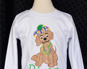 Personalized Mardi Gras Puppy with Beads & Jester Hat Applique Shirt or Onesie Girl or Boy