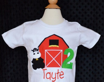 Personalized Birthday Barn Farm Cow Applique Shirt or Onesie Girl or Boy