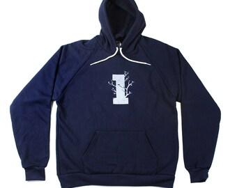 SALE - Large Mens Hoodie - Tree Hoodie  - Made in America - Mens Drop Sleeve Hoodie - Tree Hoodie - S M L XL