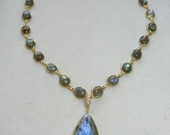 LABORDITE QUEEN'S NECKLACE exquisitely stunning piece,large blue/grn. pendant on vermeil bezeled oval labordite chain,cz /vermeil bail&clasp