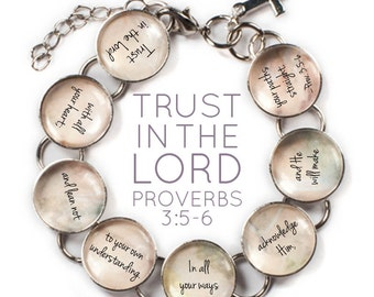 "Trust In The Lord - Proverbs 3 Scripture Glass Charm Bible Verse Bracelet, 6.75""-8.75"""