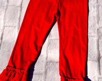 Girls Ruffle Pants, Ruffle Pants, Red