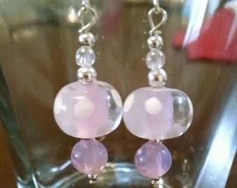 Light Pink Glass Bead Earrings Item No. 82