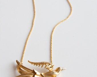 Upcycled Vintage Bird Bar Necklace.