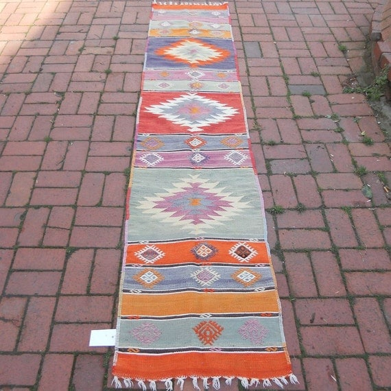 Vintage Pastel Color Kilim Runner RugSHIPPING By BUTTERFLYRugs