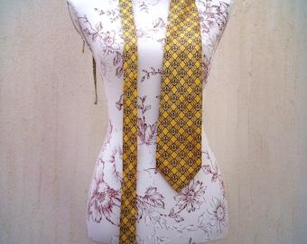 Vintage silk tie-vintage yellow tie-vintage tie-silk tie-retro tie-80s party tie-70s party tie-hipster tie-anchors vintage tie