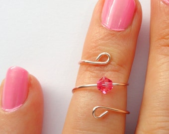 Rose gold pink crystal knuckle ring, Pink crystal ring, Rose gold knuckle ring, Wire knuckle ring, Knuckle ring, Gifts