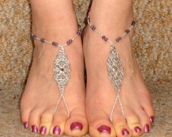 Silver amethyst barefoot sandals, Amethyst barefoot sandals, Ankle slave foot, Barefoot sandals UK,  Bare foot sandals, Silver ankle slave