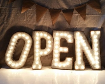 OPEN Galvanized Metal Marquee Light Letter- 21""