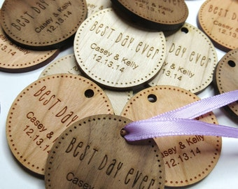 1.5 x 1.5 Wedding Tags - Custom Wedding Tags - Wood Wedding Tags