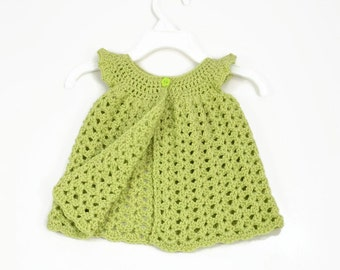 Crocheted Newborn Infant Baby Tunic Top Dress Pinafore 0-3 months Baby Shower Gift