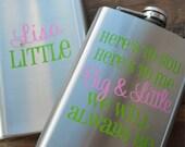 Sorority Big Little Sister Cheers Flask Personalized