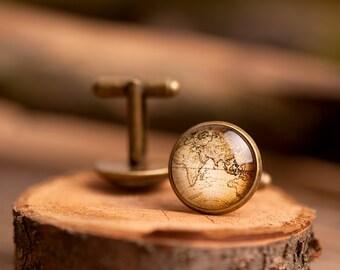 Vintage map cufflinks, men cufflinks, antique brass cufflinks, glass dome cufflinks, glass cufflinks, men accessories, gift for men