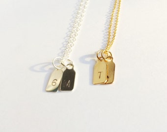 two sterling silver initial tags necklace - petite and dainty - custom