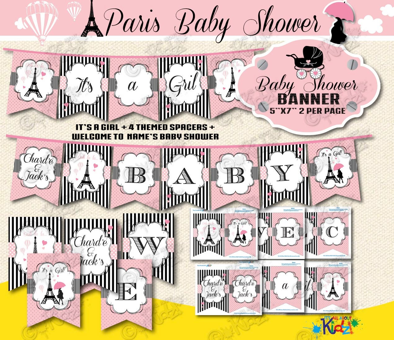 Baby Shower Custom Banners: Personalized Paris Baby Shower Banners Printable Baby Shower