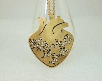 Anatomical gold heart with oxytocin molecule - chemistry necklace - 24 karat gold plated necklace