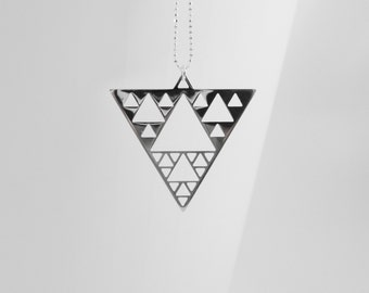 Sierpinski triangle - Math necklace - Science - Fractal - silver sacred geometry necklace Fractal