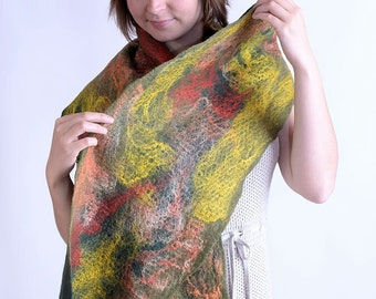 Olive cobweb scarf 10% OFF - lightweight felt scarf made of pistachio merino wool and decorated with silk fibers, sheer & thin scarf [S131]