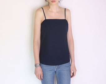 70's pleated detail Trevira for Frankenwälder blouse, minimalist navy blue strappy top