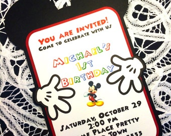 Mickey Mouse inspired Invitations. Handmade. Personalized.