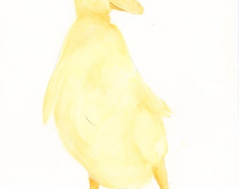 Yellow Duckling Nursery Watercolor Painting Baby Duck Archival Print