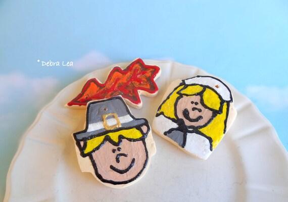 Fake Cookies **ON SALE** Set Thanksgiving Pilgrim  Handmade Faux Sugar Cookie Ornament Leaf Harvest T5