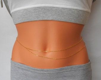 Layered Belly Chain, Belly Chain, Belly Chain, Gold Belly Chain, Body Chain, Body Jewelry, Dainty Belly Chain
