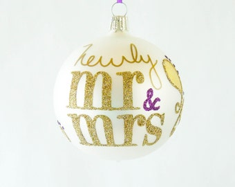 Mr and Mrs Ornament Gold Paisley Blown Glass Personalized Wedding Bridal Gift Bride and Groom Hand Painted Keepsakes by Viva La Holiday