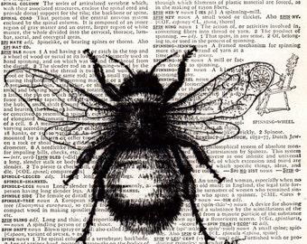 Vintage Wall Art Print - Printed on Dictionary Paper 1950s . Vintage Bee