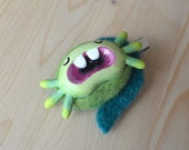 RESERVED FOR ZOH - Pétronille hairpin - Green axolotl, hand-sculpted, needle-felted accessory