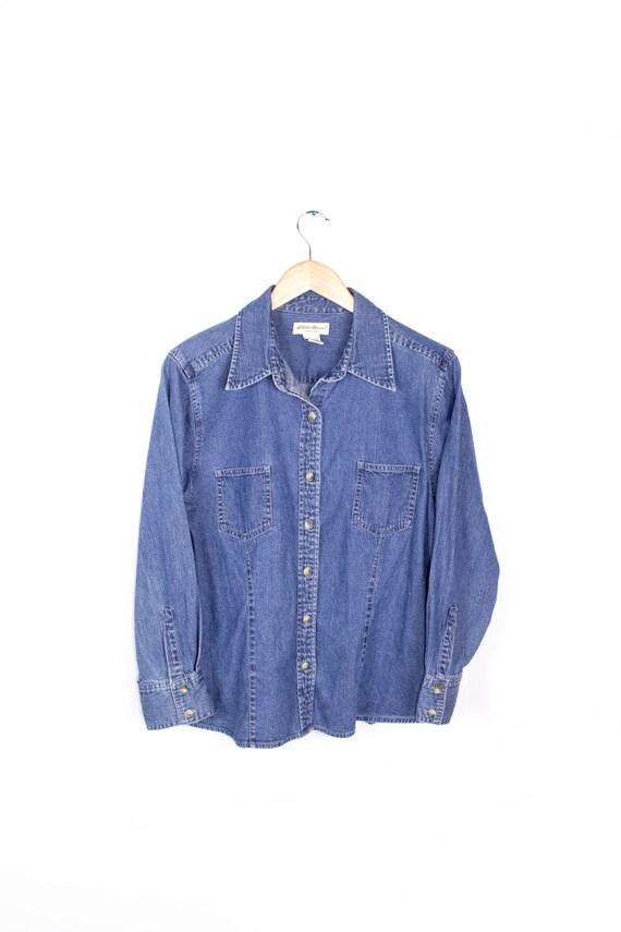 Eddie Bauer Denim Blue Jean Shirt Women Size Petite Medium