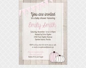 Rustic Fall Baby Shower Invitation, Pumpkin, Pink, Baby Girl, 5x7