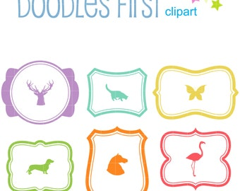 Frames With Animal Silhouettes Clip Art for Scrapbooking Card Making Cupcake Toppers Paper Crafts