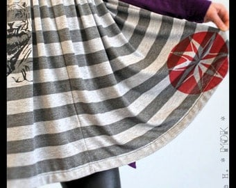 Low/Empire Waist Skirt, Elastic waist, Tiger & Compass Screen-prints
