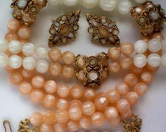 Fabulous 1928 Jewelry Set with Necklace, Bracelet & Earrings - 3507