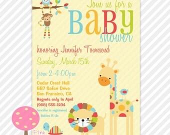Safari Animals Baby Shower Invitation, Customized Invite, Gender Neutral