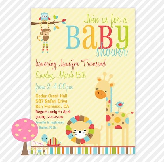 safari animals baby shower invitation customized invite gender