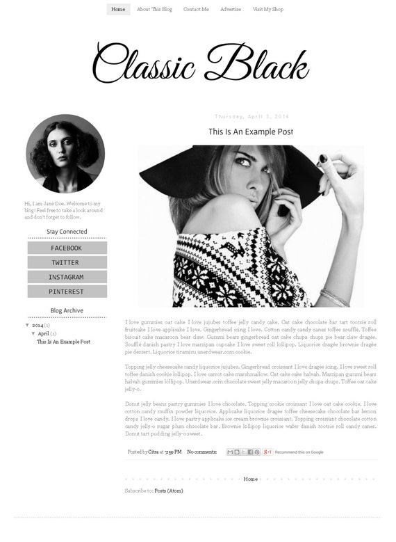 Fashion Blogger Template - Simple Clean Minimalist Modern Blog Design - Blog  Layout - Blog Theme
