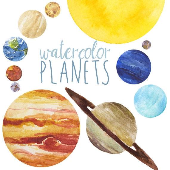 Watercolor Planets Clip Art set Solar System Science Clip
