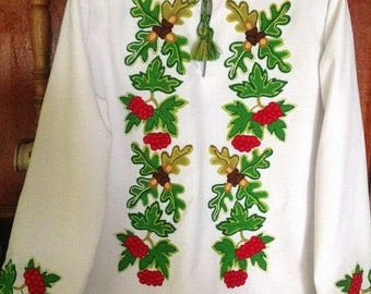 Ukrainian Traditional National Men's (Junior's or Boy's) White Cotton Hand Embroidered Shirt features Oak Leaves, Acorns and Guelder Rose.