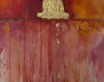 "Buddha ""Journey of the Soul (Heart Sutra) Fine Art Print on Canvas 12 x 24 inch Spiritual Art Buddha Painting Om Meditation"