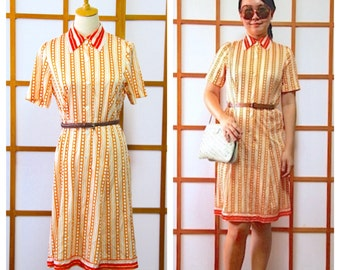 Vintage Orange Scooter Shirtdress, Retro, 1980s Japan, Size S to M