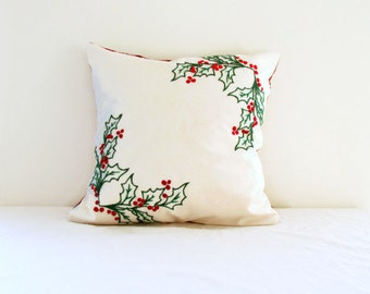 Christmas cushion cover, hand embroidered 16 inch pillow cover holly leaves and berries, festive holiday decor, handmade in the UK