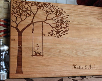 Personalized Cutting Board Squirrels on Swing Lasered Engraved Wedding Present Anniversary Gift Bridal Shower Ktchen Art