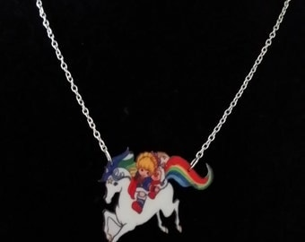 Rainbow Brite Style Printed Acrylic Necklace on Silver or Gold Chain, TV