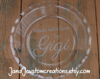 Personalized  Pie Dish with Name- Sandblasted/Etched