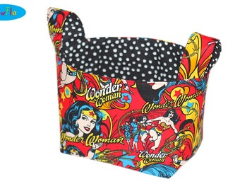 Fabric Storage Bin | Storage Bin | Room Organizer | Desk Organizer | Fabric Basket | Wonder Woman Bin